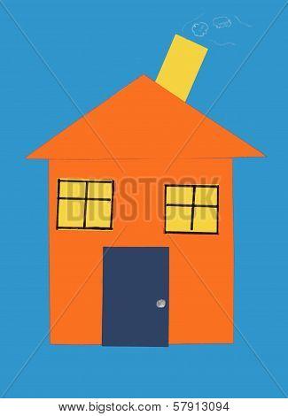 Orange House Illustration