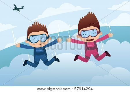 Skydiving Couple
