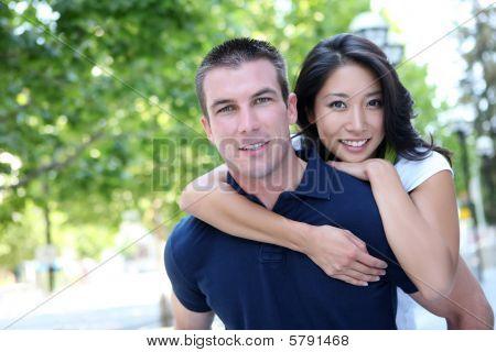 Attractive Interracial Couple In Love