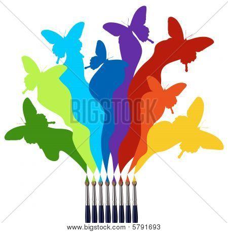 Pinceles y arco iris de mariposas de colores