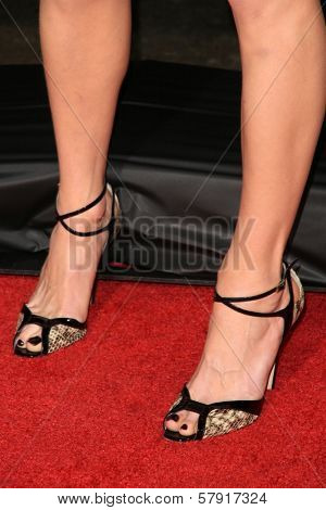 Sarah Chalke's shoes  at the Los Angeles Premiere of 'Zack and Miri make a porno'. Grauman's Chinese Theater, Hollywood, CA. 10-20-08