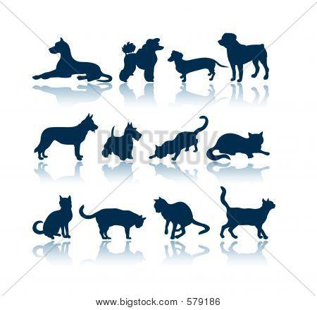 Hunde und Katzen Silhouetten