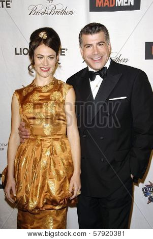 Maggie Siff and Bryan Batt  at the live revue A Night On The Town With 'Mad Men'. El Rey Theater, Los Angeles, CA. 10-21-08
