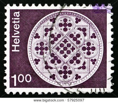 Postage Stamp Switzerland 1974 Rose Window, Lausanne Cathedral