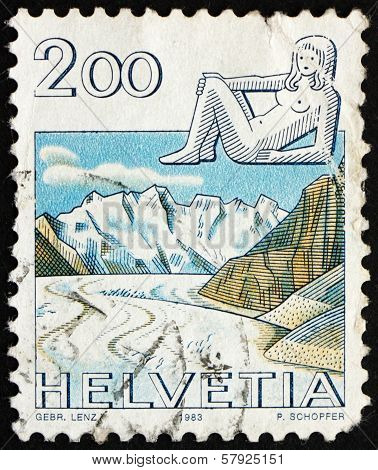 Postage Stamp Switzerland 1983 Virgo, Jungfrau Monch Eiger Mountains