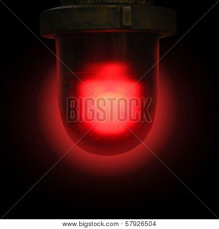 Red Emergency Siren On Black Background