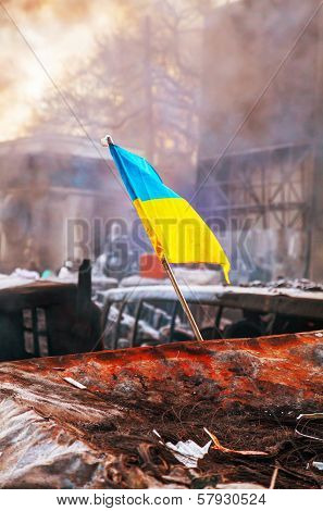 Ukrainian Flag On The Barricade At Hrushevskogo Street In Kiev, Ukraine