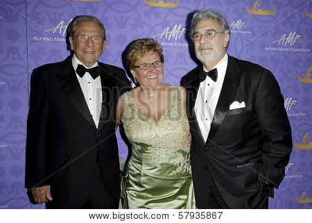 Alfred Mann with Claude Mann and Placido Domingo  at the 5th Annual Alfred Mann Foundation Innovation and Inspiration Gala. Vibiana, Los Angeles, CA. 11-02-08