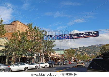 Banner Advertizing The Rock Of Ages Festival On Lincoln Street (highway 29), The Main Road Through C