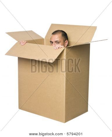 Man in a cardboard box.