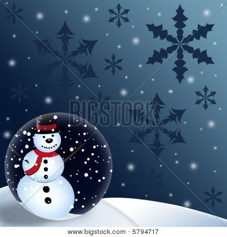 Snowman Globe Christmas Background