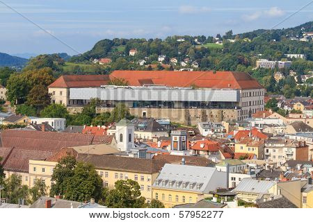 Linz Cityscape With Schlossmuseum And Old Town, Austria