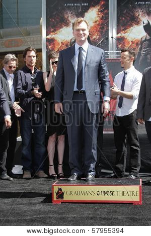 Gary Oldman, Christian Bale, Anne Hathaway, Christopher Nolan and Joesph Gordon-Levitt at the Christopher Nolan Hand and Footprint Ceremony, Chinese Theater, Hollywood, CA 07-07-12