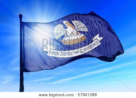Louisiana (USA) flag waving on the wind