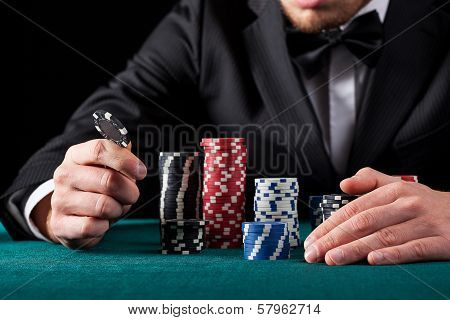 Casino Gambler With Chips
