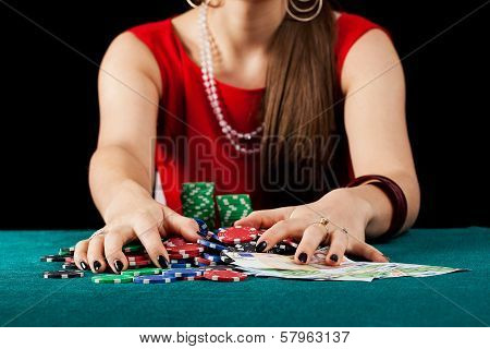 Female With Chips And Banknotes