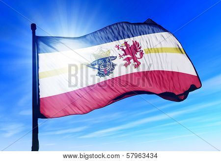 Mecklenburg Vorpommern (GER) flag waving on the wind