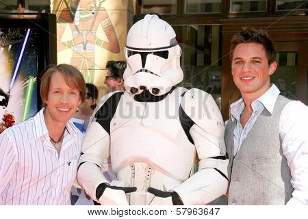 James Arnold Taylor and Matt Lanter  at the U.S. Premiere of 'Star Wars The Clone Wars'. Egyptian Theatre, Hollywood, CA. 08-10-08