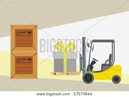 Forklift and giftbox