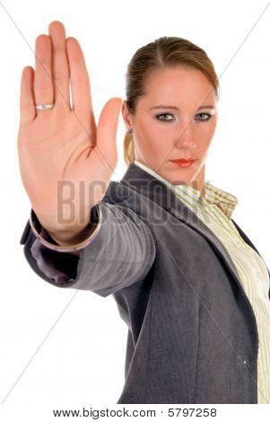 Businesswoman Hands Stop