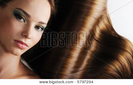 Brunette Long Healthy Female Hair