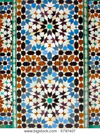 Walll Tiles At Ali Ben Youssef Madrassa In Marrakech