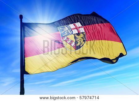 Saarland (GER) flag waving on the wind