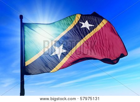 Saint Kitts and Nevis flag waving on the wind