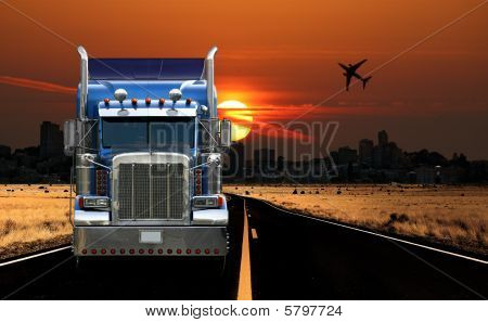 Trucking City View At Sunrise
