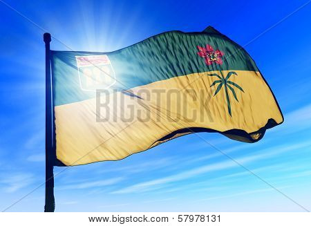 Saskatchewan (Canada) flag waving on the wind