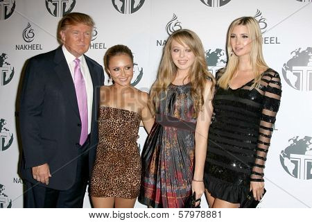 Donald Trump and Hayden Panettiere with Tiffany Trump and Ivanka Trump  at a party to introduce the Trump Tower Dubai. The Tar Estate, Bel Air, CA. 08-23-08