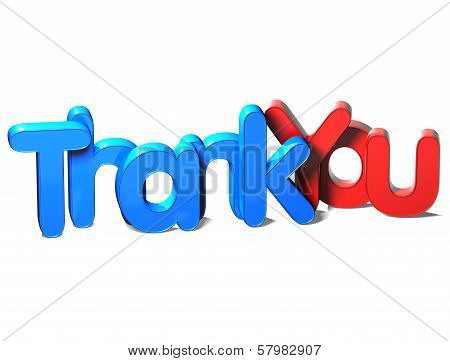 3D Word Thank You On White Background