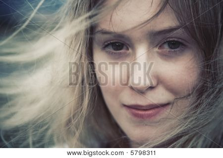 Woman With Fluttering Hair Concept Portrait