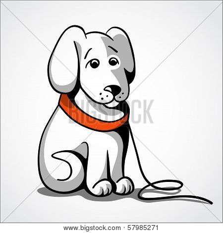 Lost sad dog vector illustration
