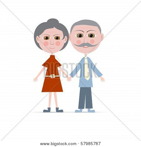 Granny And Grandpa Vector Illustration Isolated On White Background