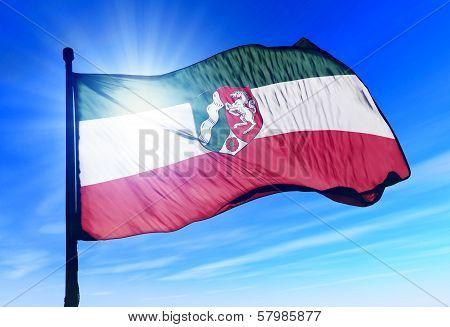 North Rhine-Westphalia (GER) flag waving on the wind