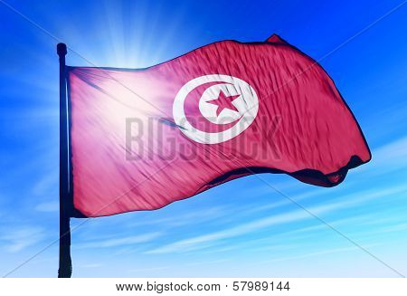 Tunisia flag waving on the wind