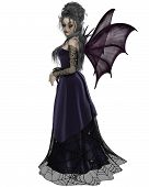 picture of faerie  - Gothic style fairy with purple bat wings and dress with cobweb lace - JPG