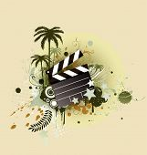 foto of clapper board  - A vector illustration of decorative background with palm trees - JPG
