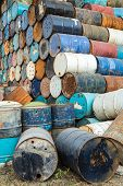 picture of bio-hazard  - old empty barrels containing hazardous chemicals - JPG