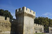stock photo of avignon  - The walls around medieval city of Avignon - JPG