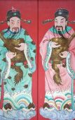 picture of gatekeeper  - Image of a guardians painted on a chinese temple door in Malaysia - JPG