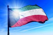 Kuwait flag waving on the wind