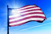Liberia flag waving on the wind