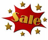 picture of year end sale  - A Gold and Red Explosion with Stars with the text  - JPG