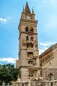 stock photo of messina  - Cathedral and fountain Orion in Messina city of Sicily  - JPG