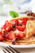 picture of crepes  - Rolled up crepes with curd cheese and strawberries - JPG