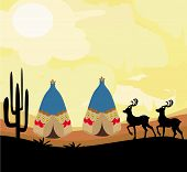 stock photo of wigwams  - wild landscape with two wigwams and wild animals  - JPG