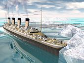 image of historical ship  - Famous Titanic ship floating among icebergs on the water by cloudy day - JPG