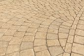 foto of paving  - Pavement paved with light brown cobblestone in Yerevan - JPG